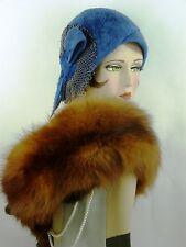 VINTAGE HAT ORIGINAL CLOCHE, COBALT BLUE BRUSHED FELT, BLACK BEADED LACE & BOW