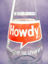 vintage ACL Soda Pop Bottle:  ribbed bottle HOWDY from 7-UP  - 10 oz ACL Soda