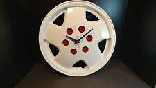 Hand Painted Patriot Hubcap Clock Red White Blue Americana Automobilia Man Cave
