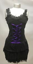 Gothic Punk Short Dress With Purple Ribbon Sm