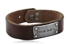"Diesel DX0570040 Brown Genuine Leather & Stainless Steel Men's 9"" Bracelet New"