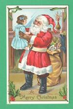 VINTAGE STECHER CHRISTMAS SANTA CLAUS POSTCARD GIRL SACK TOYS FIREPLACE STOCKING