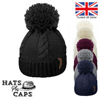 Cable Knitted Bobble Hat Luxury Fleece Lined Thermal Winter Pom Pom Ski Beanie