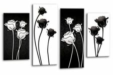 """Abstract Floral Art Picture Black White Grey Love Flower Wall Canvas 44"""""""