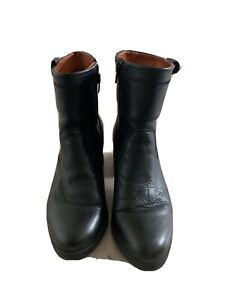 BERTIES LADIES DESIGNER BLACK LEATHER ANKLE BOOTS UK 5/38 TAN LINING