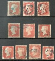 GB QV 1841 1d Red collection of 10 stamps all with blue cancels cat £2500