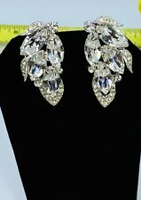 VINTAGE Sign Weiss Ice Clear Prong Set Rhinestone Crescent Clip On Earrings WoW!