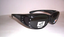 TAC POLARIZED FIT GLASSES OVER RX 60 MM sunglasses BLACK W/ Rhinestones