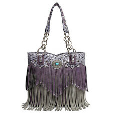 Cowgirl Trendy Western Fringe Tote Handbag Purse Concealed Carry Weapon Purple