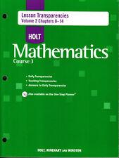 HOLT MATHEMATICS COURSE 3: LESSON TRANSPARENCIES VOLUME 2 CHAPTERS 8-14