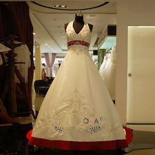 Luxury Embroidery Halter White and Red A Line Wedding Dress Bridal Gown Custom
