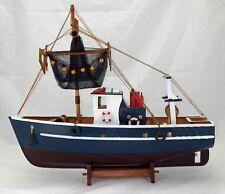 Maquette chalutier en bois 45 cm, bateau de pêche, décoration esprit marine Neuf