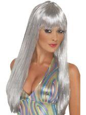 Argento con Glitter Parrucca Anni '60 Anni 70 Disco lungo Glamour