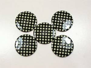 """Large Polka Dot Buttons 1 1/4"""" Diameter Black with Green Coat Buttons, 5 Pcs"""