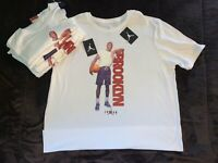 "New Nike Air Jordan ""Born In Brooklyn"" T-Shirt White Red Black Men's Size S-XXL"