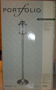 Portfolio Steel Outdoor Mini Lamp Post Smoked Nickel Brushed Penny Finish 59.9in