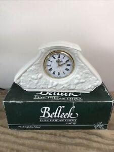 Belleek Ireland Large Mantel Clock With Oak Acorn Pattern *Never Used*