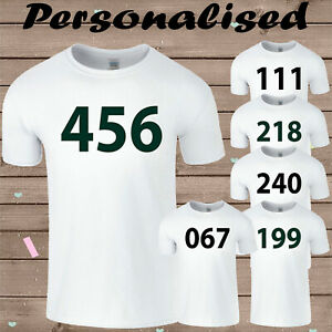 Squid Game Participant Numbers Mens Personalised T Shirt TV Show Halloween Tee