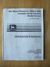 John Deere Mid Mount Mower For 4500 Amp 4600 Tractors 72 Operators Manual