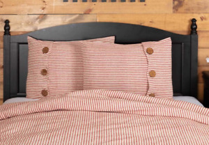 "2- Piper Classics Homespun Red Ticking Standard Sham Striped 21"" x 27"" NIP"