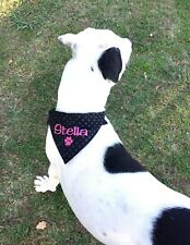 PERSONALISED DOG BANDANA and COLLAR MEDIUM SIZE  ANY NAME embroidery Clothing