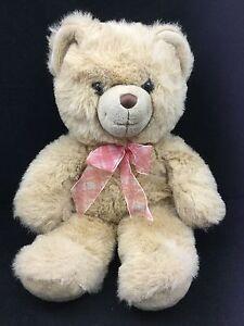 "Honey Blonde Teddy Bear Red Gingham Bow Handmade Aurora Big Plush 20"" Toy Lovey"