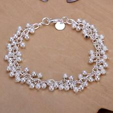 Women 925 Silver Plated Charm Grape Beads Chain Bracelet Bangle fashion jewelry