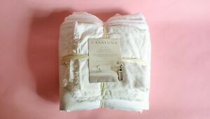 KING CASALUNA LINEN DUVET COVER SET W/ 2 SHAMS WHITE 30% OFF FREE SHIPPING
