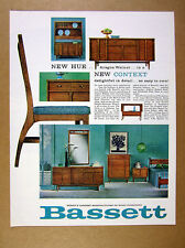 1963 Bassett Context Collection aragon walnut furniture vintage print Ad