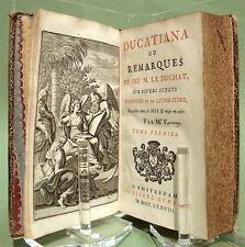 Ducatiana ou Remarques de feu M. Le Duchat - 1738 - Reliure aux armes