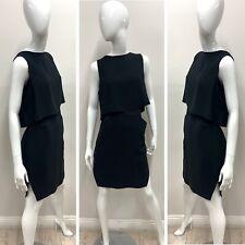NWT BCBGMAXAZRIA Women's Black Overlapped Sleeveless Detachable Blouse Dress