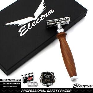 Electra Mens Double Edge Shaving Safety Razor Shaver + 10 Blades Brown Gift Set
