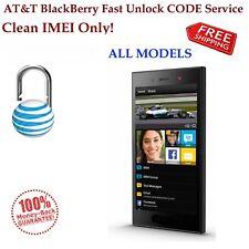 AT&T ALL BlackBerry Q5 Z10 Q10 Z3 Z3 Q5 9790 9720 AT&T Fast Unlock CODE Service.