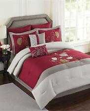 Ellery Homestyles Mulberry 6 Piece Queen Comforter Set Red Cream Tan v15