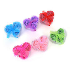 3Pcs Scented Bath Body Heart Rose Petal Wedding Gift Favor Colors Flower Soap LT
