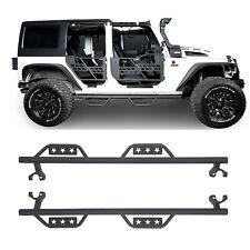 Side Step Nerf Bars Pads for Jeep Wrangler JK 07-18 4 Door Black Wide Drop