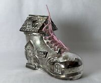 OLD WOMAN WHO LIVED IN A SHOE Themed Silver Plated Moneybox Moneybank Piggybank