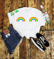 Rainbow Boobies T Shirt Pride Hipster Unisex Gift Festival Funny LGTB Cute Dance