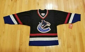 New Men's NHL Vintage Vancouver Canucks CCM Jersey (Black // Blue)  Men Medium