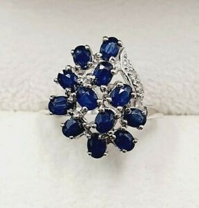 18ct White Gold Sapphire & Diamond Fancy Ring Size N 3/4  STOCK CLEARANCE