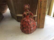 Vintage Antique Southern Belle ,Victorian Door Stop, Cast Iron , Red Dress