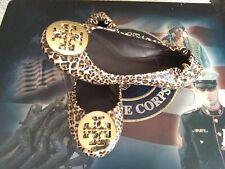 Tory Burch Mini Leopard Patent Cross Grain Saffiano Leather Reva Flats 5 M