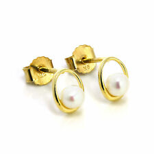 9ct Gold & Freshwater Pearl Open Stud Earrings Pearls Studs Oval Round