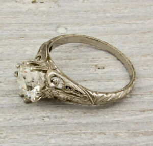 Antique 2.00Ct White Round Cut Diamond Art Deco Engagement Ring Solid 925 Silver