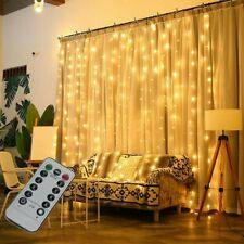 300 LED Lichterkette Gardinen Leuchte Weihnachten Party Licht Deko Innen&Außen