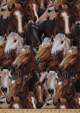 Cotton Running Free Horses Allover Cotton Fabric Print by the Yard D683.51