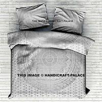 SELECTION - Indian Ombre Mandala White Duvet Cover Reversible Blanket Boho Quilt