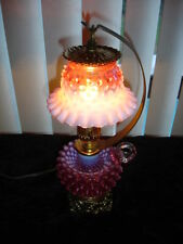 FENTON RARE CRANBERRY OPALESCENT HOBNAIL LAMP WITH HANDEL