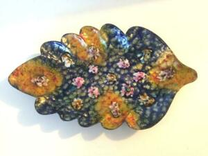 Vintage Enamelled Copper Leaf Dish Art Glass Mid Century Polychromatic Floral