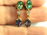 Fine 4.55ct Colombian Emerald,Tanzanite and Diamond Earrings 18K